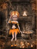 Beautiful toon pumpkin girl Royalty Free Stock Photography