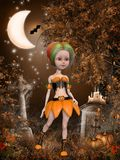 Beautiful toon pumpkin girl Royalty Free Stock Photo