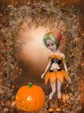 Beautiful toon pumpkin girl Stock Photos