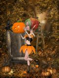 Beautiful toon pumpkin girl Stock Photos
