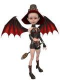 Beautiful toon witch girl Stock Photos