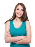 Beautiful toothy smiling woman Royalty Free Stock Images