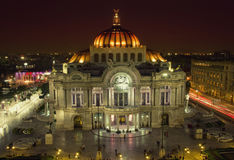 Beautiful top view of Bellas artes at night, Mexico City, Mexico Royalty Free Stock Photo