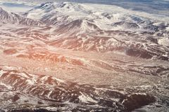 Beautiful top view black volcano mountain winter season. Natural landscape background, Iceland Stock Image