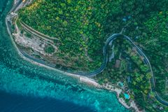 Road to Boljoon Cebu Philippines. Beautiful top view of curve road way to Boljoon Cebu Philippines stock image