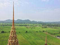 Beautiful Top view Field at `Wat tum sua temple` most popular temple royalty free stock photography