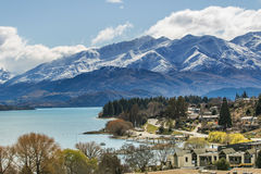 Beautiful top view land scape of lake wanaka town in cloudy day Royalty Free Stock Image