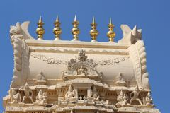 Beautiful top view of temple in south india. With blue background Stock Photography