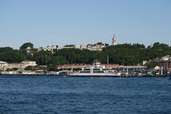 Beautiful Topkapi Palace, Bosphorus, Golden Horn and Istanbuls Oldtown Sultanahmet, as seen from Galata, Turkey royalty free stock photos