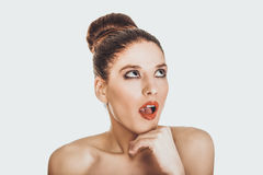 Beautiful topless shocked woman with make up. Royalty Free Stock Image