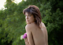 Beautiful Topless Woman With Flowers Stock Image