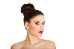 Beautiful topless woman with make up. Stock Photos