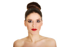 Beautiful topless woman with make up. Royalty Free Stock Images