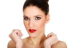 Beautiful topless woman with make up. Royalty Free Stock Photography