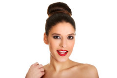 Beautiful topless woman with make up. Royalty Free Stock Photo