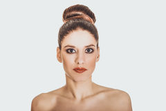 Beautiful topless woman with make up. Stock Photography