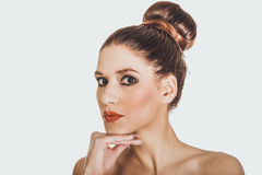 Beautiful topless woman with make up. Stock Image