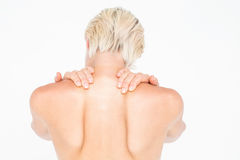 Beautiful topless woman touching her neck Royalty Free Stock Photography