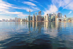 Beautiful Toronto skyline with CN Tower over lake. Royalty Free Stock Photos