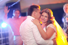 Beautiful touching first dance of the bride and groom Stock Image
