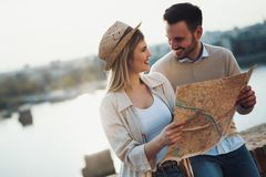 Beautiful couple traveling and sightseeing. Beautiful tourist couple in love traveling and sightseeing Royalty Free Stock Image