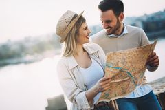 Beautiful couple traveling and sightseeing. Beautiful tourist couple in love traveling and sightseeing Stock Photo