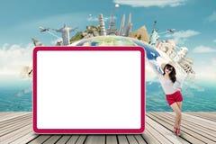 Beautiful tourist and empty billboard Stock Photo