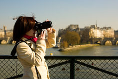 Beautiful tourist in Paris Stock Photo