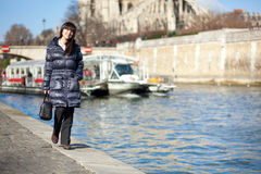 Beautiful tourist in Paris Stock Images