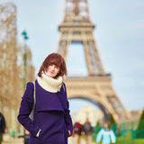 Beautiful tourist in Paris near the Eiffel tower Stock Image