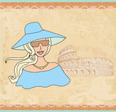 Beautiful tourist in Rome. Vector Illustration Royalty Free Stock Images
