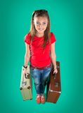 Beautiful tourist with suitcase Royalty Free Stock Image