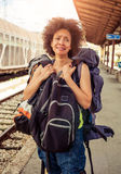 Beautiful tourist traveler standing with huge luggage Royalty Free Stock Photo