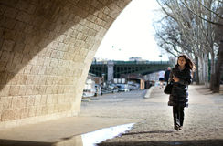 Beautiful tourist walking in Paris Stock Photography