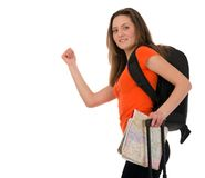 A beautiful tourist woman with baggage showing sign isolated on Royalty Free Stock Photography