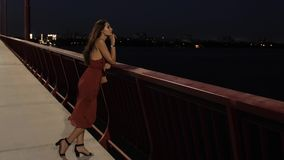 Beautiful tourist woman in night city. Young romantic tourist woman standing on bridge against ligths of night city background. Freedom, in love, dating concept stock footage