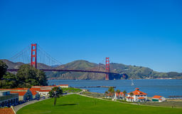 Beautiful touristic view of Golden Gate Bridge, iconic construction landmark in San Francisco city. Beautiful touristic daytime view of Golden Gate Bridge stock images