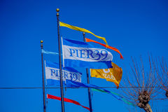 Beautiful touristic view of Pier 39 flags in the popular and cultural downtown area of San Francisco Royalty Free Stock Images