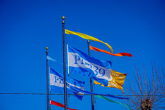 Beautiful touristic view of Pier 39 flags in the popular and cultural downtown area of San Francisco Stock Image