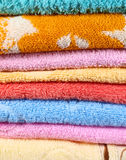 Beautiful towels. Macro photo of colored towels abstract background stock image