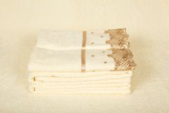 Beautiful towels with an embroidery Stock Images