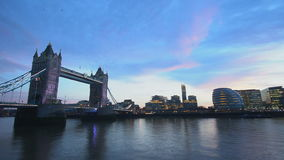 Beautiful Tower Bridge London in the evening - time lapse shot. Videoclip stock video footage