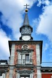 Beautiful tower in a building in Plaza Mayor in Madrid stock photo