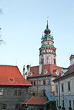 Beautiful tower of Cesky Krumlov castle Royalty Free Stock Photography