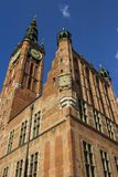 The beautiful tower of the City Hall of Gdansk. Poland royalty free stock photo