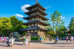 Beautiful tower in Japan Pavilion on lightblue sky background at Epcot in Walt Disney World . Orlando, Florida . March 27, 2019.  Beautiful tower in Japan stock photos
