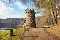 Beautiful tower near historic dam Les Kralovstvi. In Bila Tremesna, one of the oldest in the Czech Republic Stock Photo