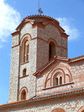 Beautiful tower of Saint Clement Church under vibrant blue sky, Ohrid, Macedonia Royalty Free Stock Photo