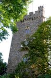 Beautiful tower with three mullioned windows near Bingen in the Rhine Valley in Germany Royalty Free Stock Photos