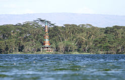 A beautiful tower visible in the forest of Acacia, Lake Naivasha Royalty Free Stock Photography